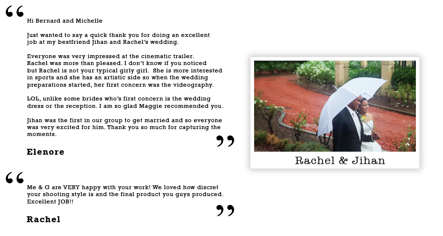 Wedding film testimonial from Elenore & Rachel