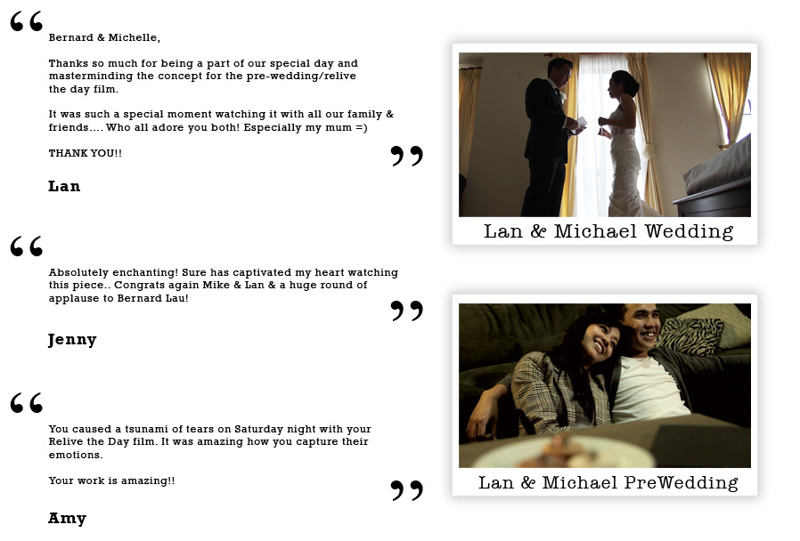 Lan and Michael Testimonial on Bernard Lau Films